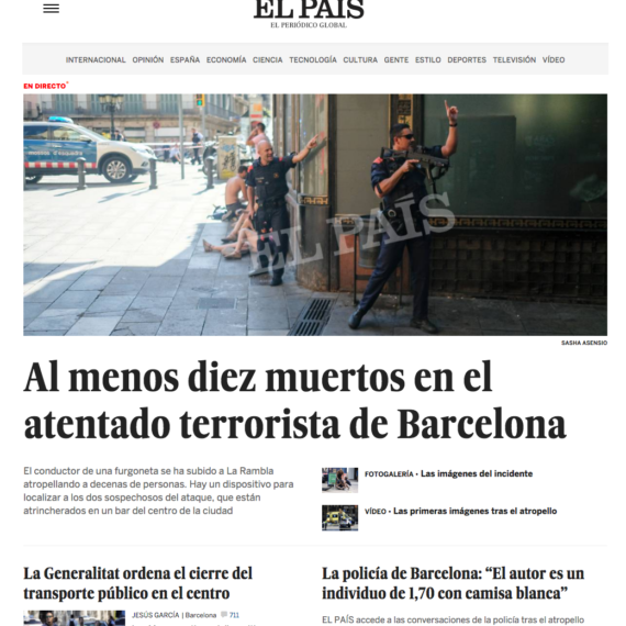 El País newspaper cover photo | Terrorist attack in Barcelona